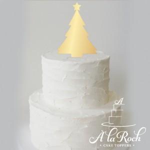 A la Roch Christmas tree acrylic cake topper