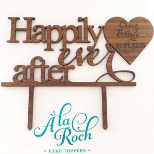Happily Ever After Cake Topper Etched with wedding date details