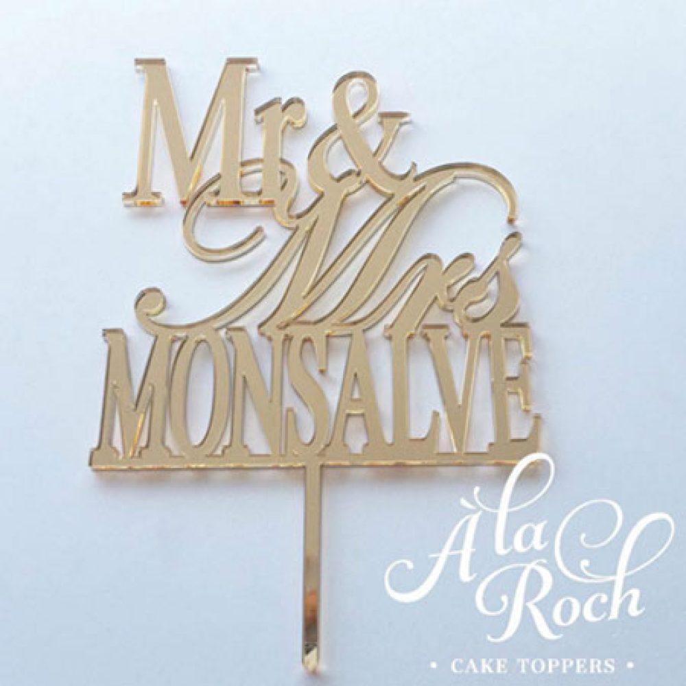 Mr & Mrs Last Name Cake Topper 1
