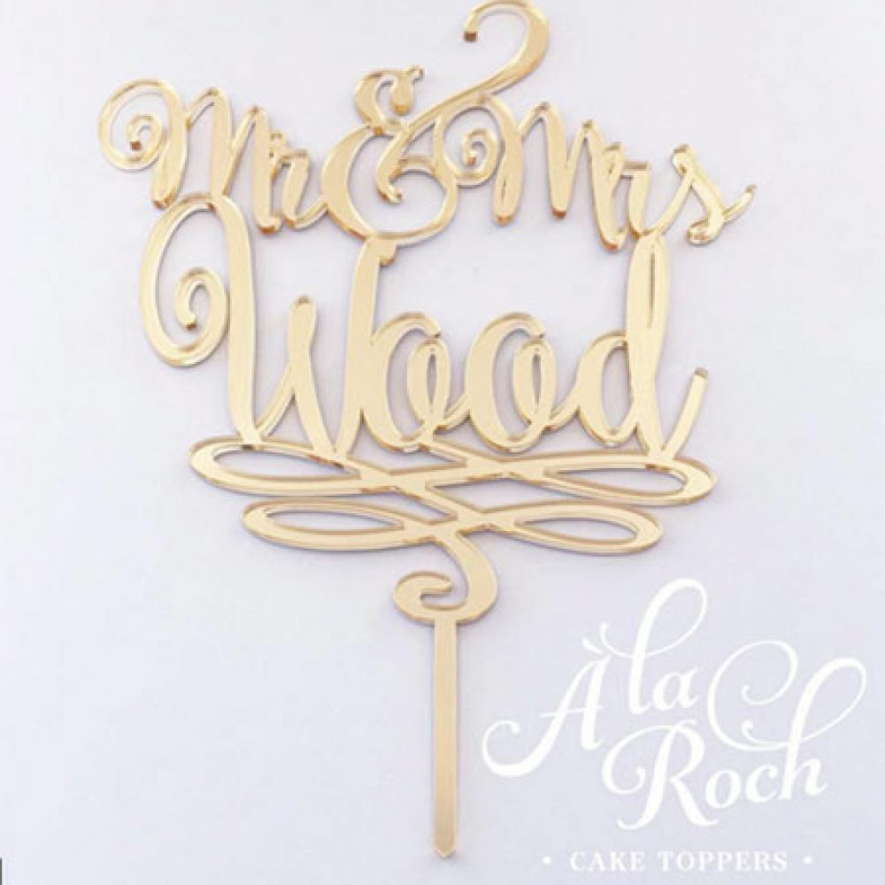 Mr & Mrs Last Name Cake Topper 2