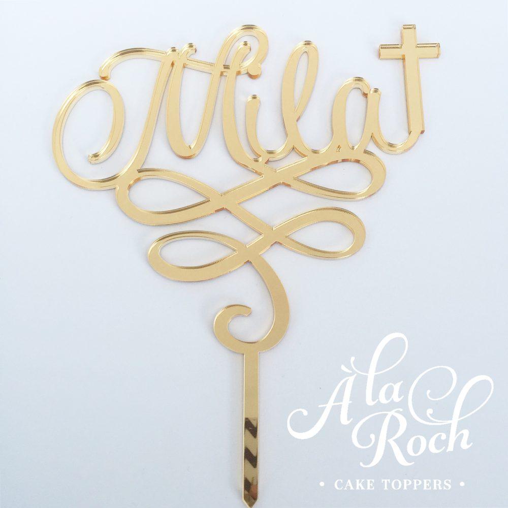 Custom Name Religious cross acrylic cake topper