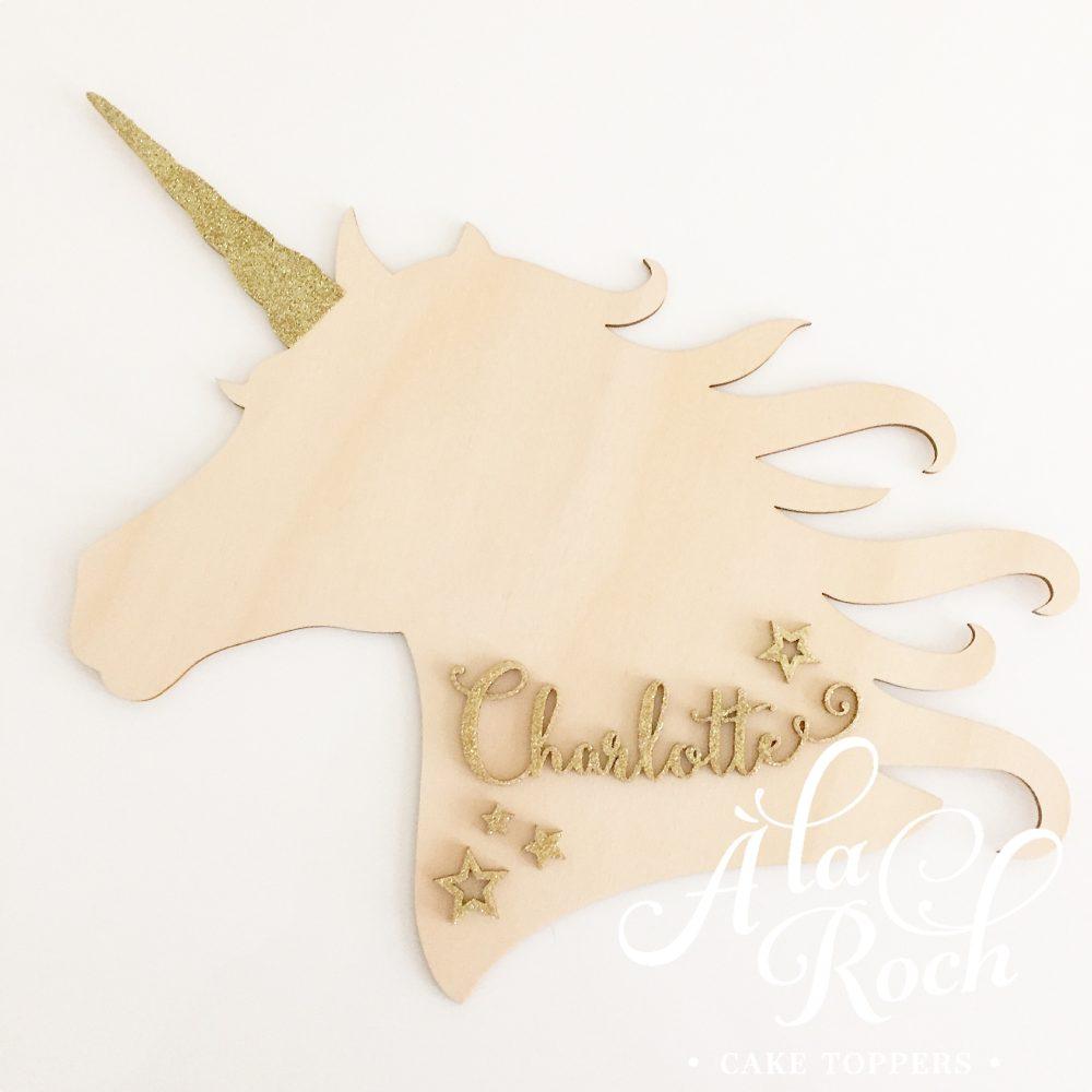unicorn name wall plaque -