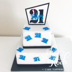 Offset square Name and age Cake Topper -