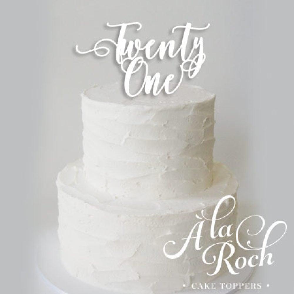 Twenty One Acrylic Cake Topper