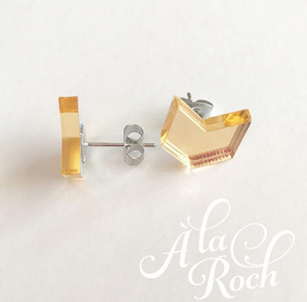 Aarow laser cut stud earrings gold mirror acrylic