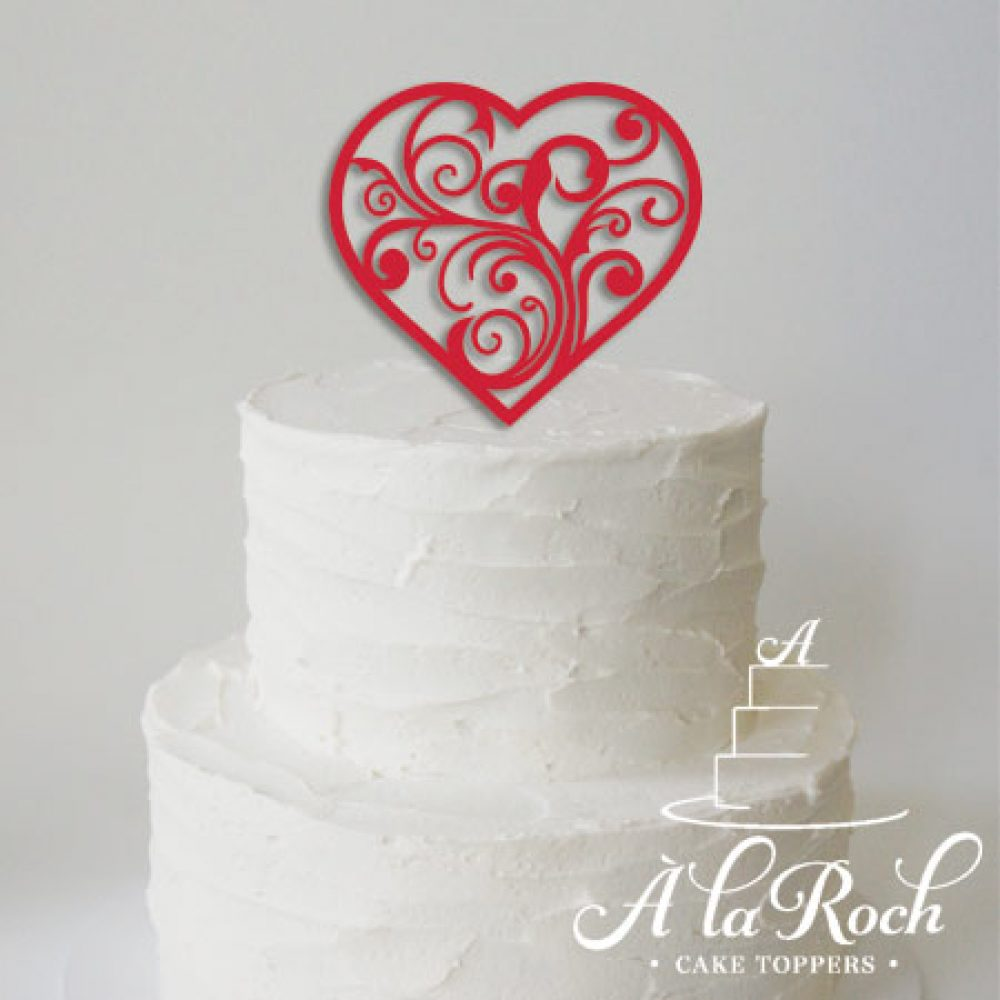 Heart Swirl Wedding Cake Topper