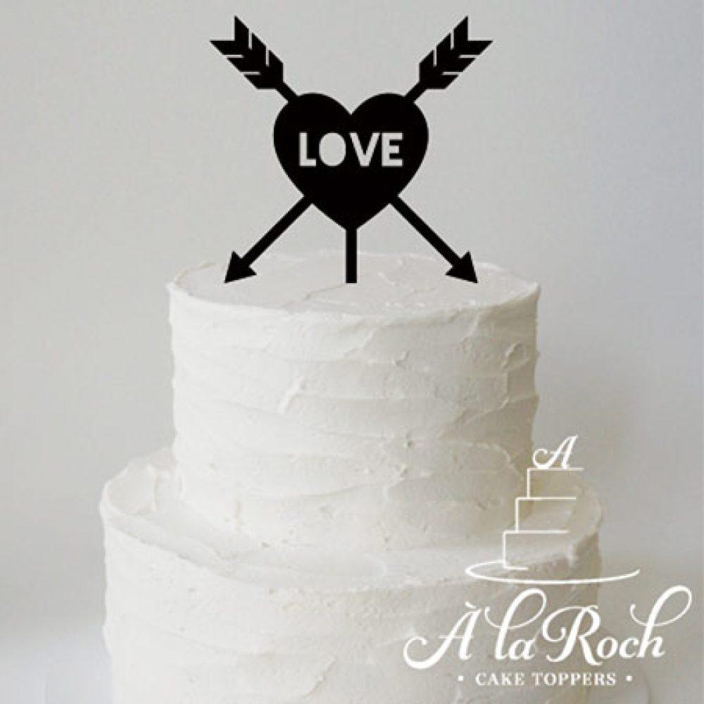 Love Arrow Wedding Cake Topper Acrylic, Bamboo or Wood