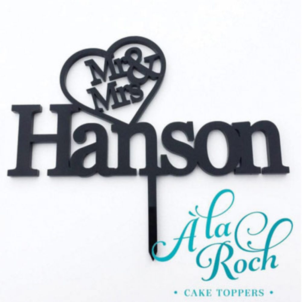 Mr & Mrs Heart and Last Name Wedding Cake Topper