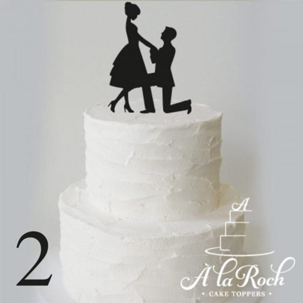 Proposal Silhouette 2 Engagement Cake Topper