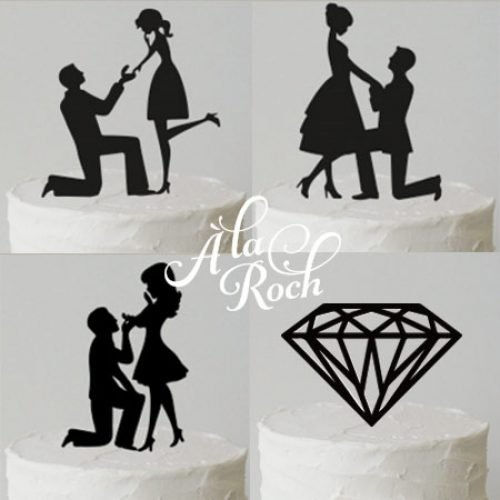 Proposal Engagement Silhouette Cake Toppers