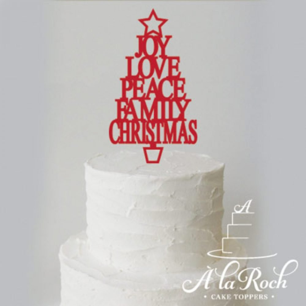 Word Christmas Tree Acrylic Cake Topper